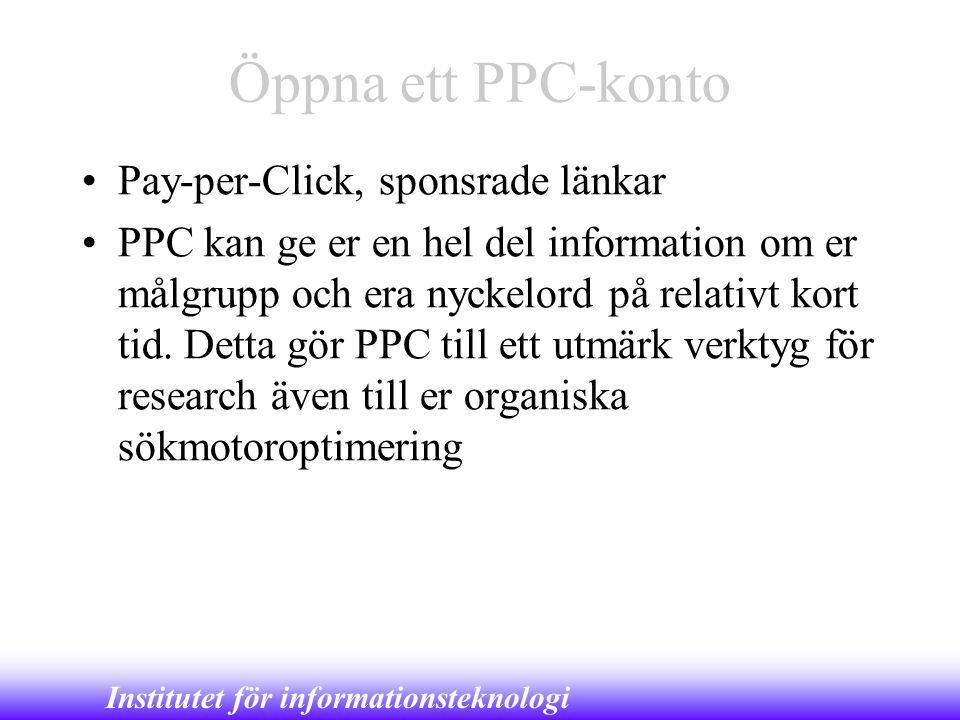 Öppna ett PPC-konto Pay-per-Click, sponsrade länkar
