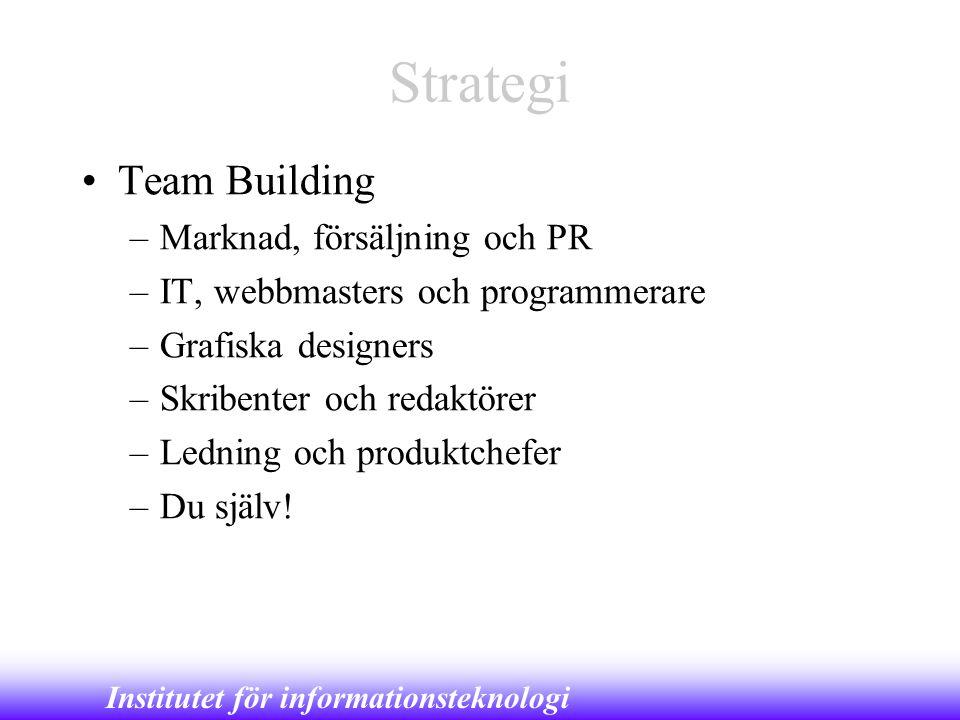 Strategi Team Building Marknad, försäljning och PR
