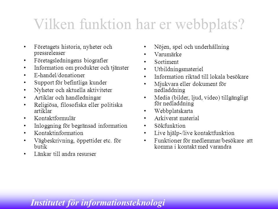 Vilken funktion har er webbplats
