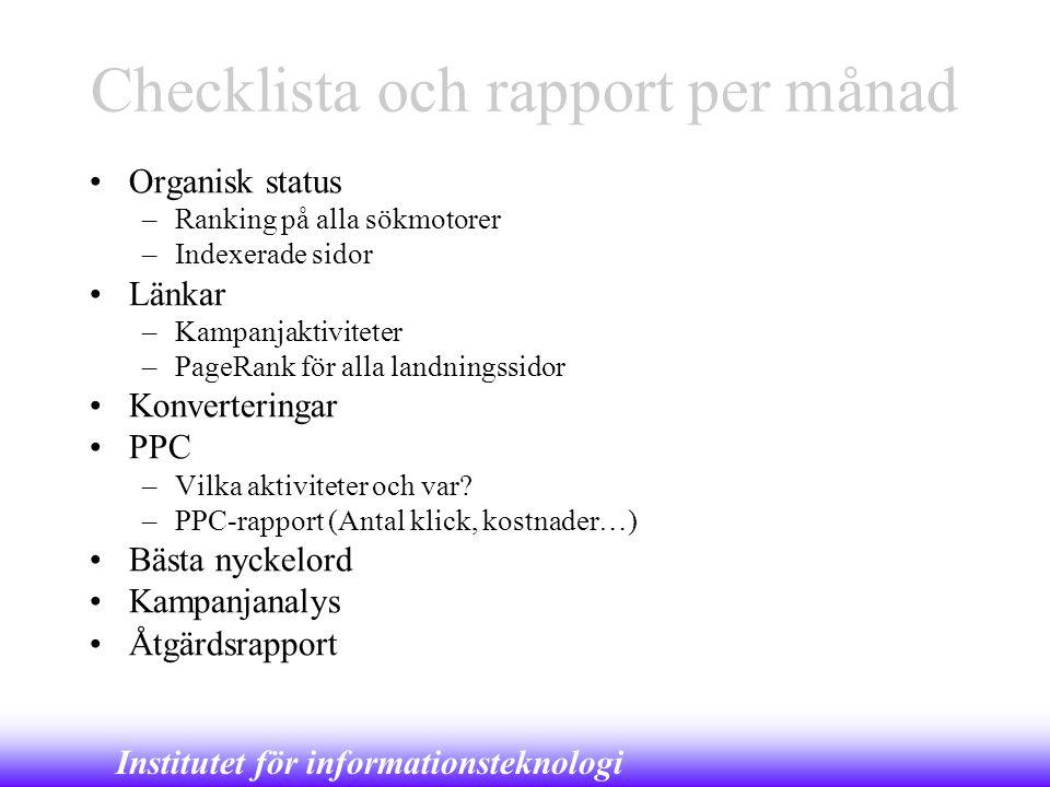 Checklista och rapport per månad