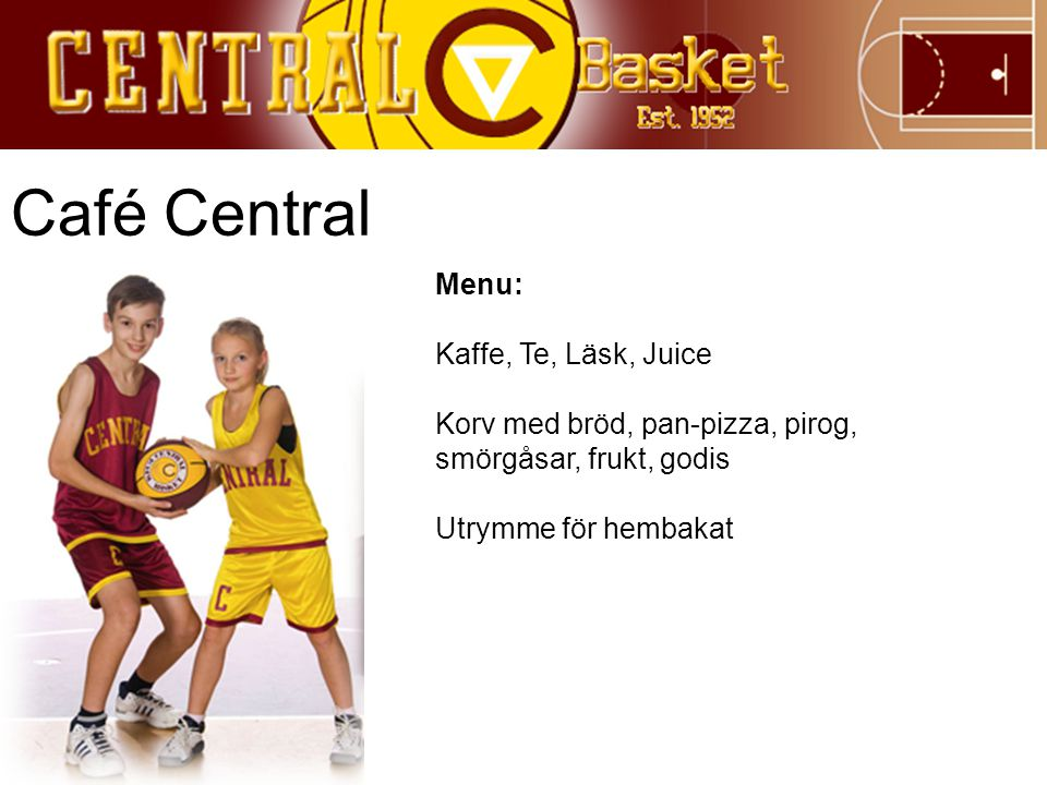Café Central Menu: Kaffe, Te, Läsk, Juice