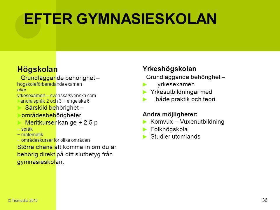 EFTER GYMNASIESKOLAN Högskolan 3636 Yrkeshögskolan