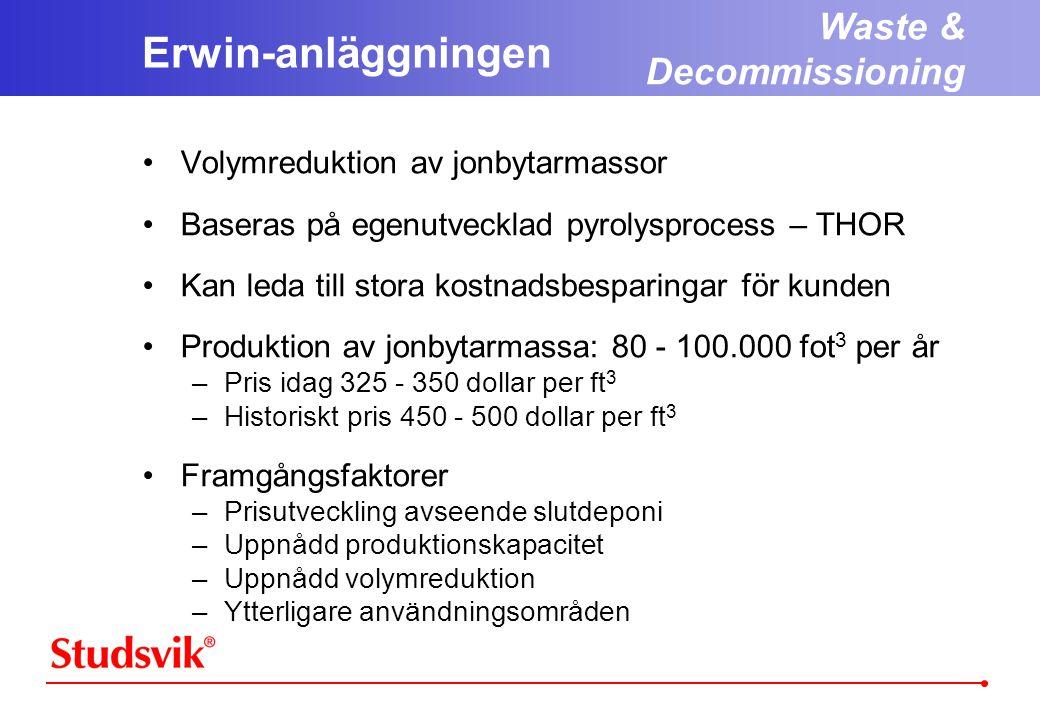 Erwin-anläggningen Waste & Decommissioning