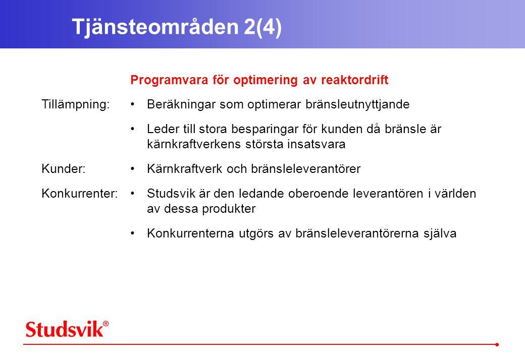 Tjänsteområden 2(4) Tillämpning: Kunder: Konkurrenter: