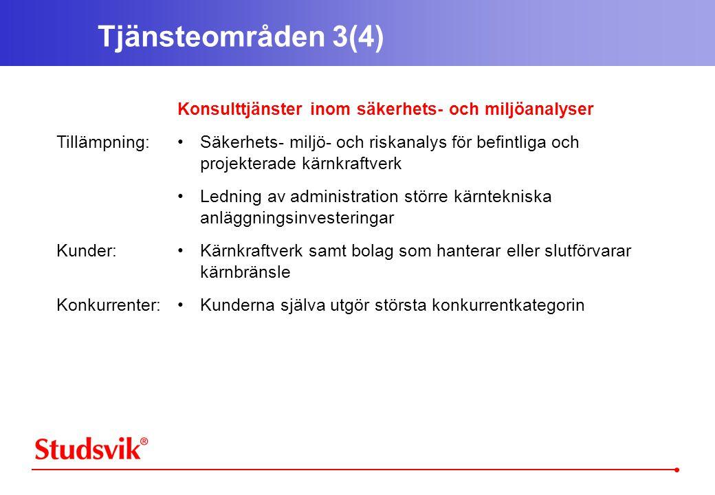 Tjänsteområden 3(4) Tillämpning: Kunder: Konkurrenter: