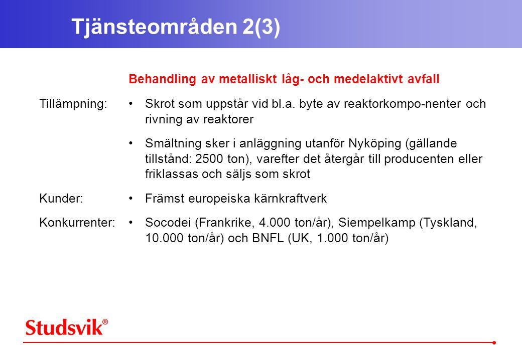 Tjänsteområden 2(3) Tillämpning: Kunder: Konkurrenter: