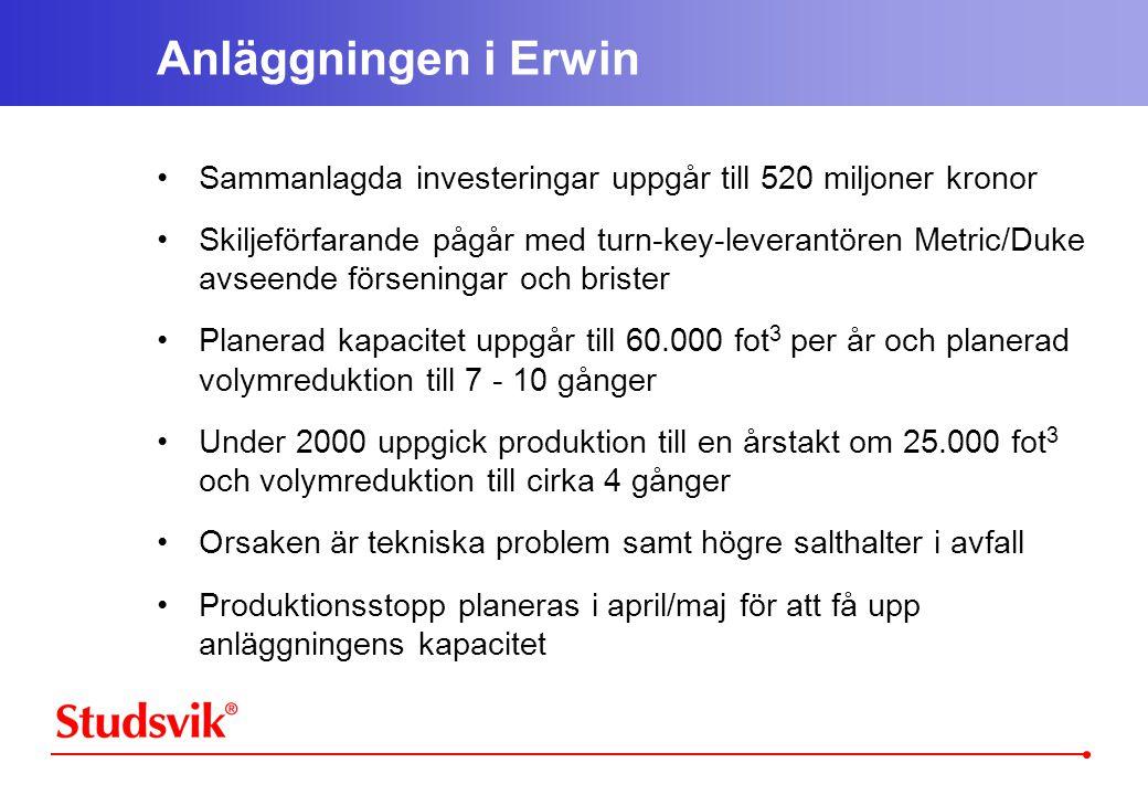 Anläggningen i Erwin Sammanlagda investeringar uppgår till 520 miljoner kronor.