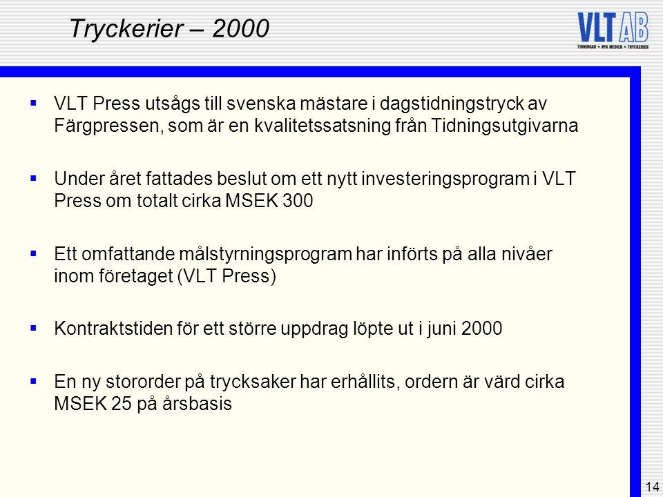 Tryckerier – 2000 VLT Press utsågs till svenska mästare i dagstidningstryck av Färgpressen, som är en kvalitetssatsning från Tidningsutgivarna.
