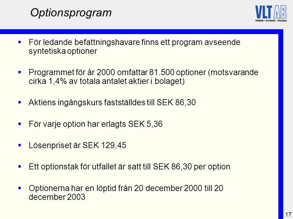 Optionsprogram För ledande befattningshavare finns ett program avseende syntetiska optioner.