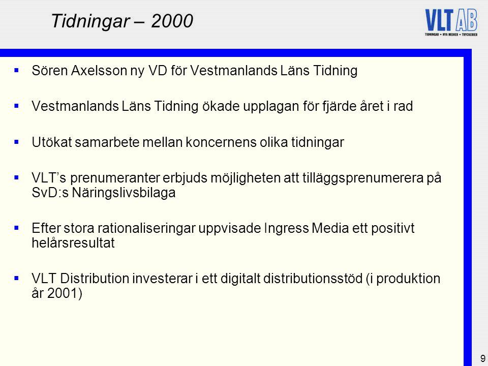 Tidningar – 2000 Sören Axelsson ny VD för Vestmanlands Läns Tidning