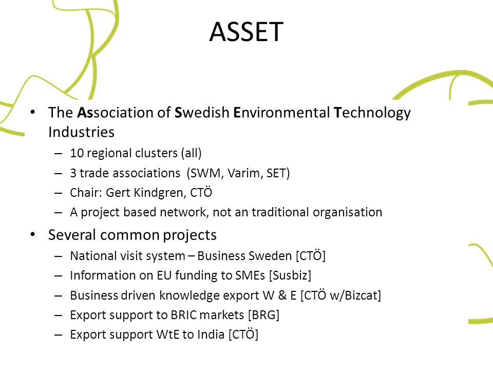 ASSET The Association of Swedish Environmental Technology Industries
