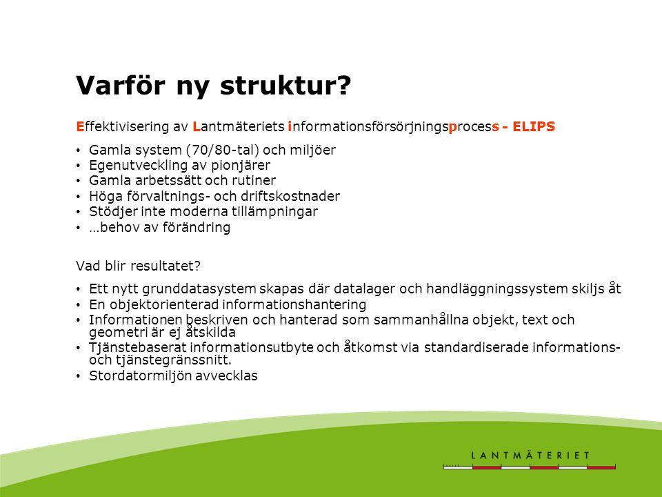 Varför ny struktur Effektivisering av Lantmäteriets informationsförsörjningsprocess - ELIPS. Gamla system (70/80-tal) och miljöer.