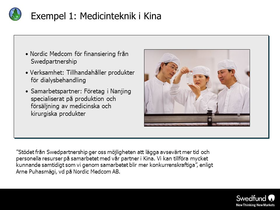 Exempel 1: Medicinteknik i Kina