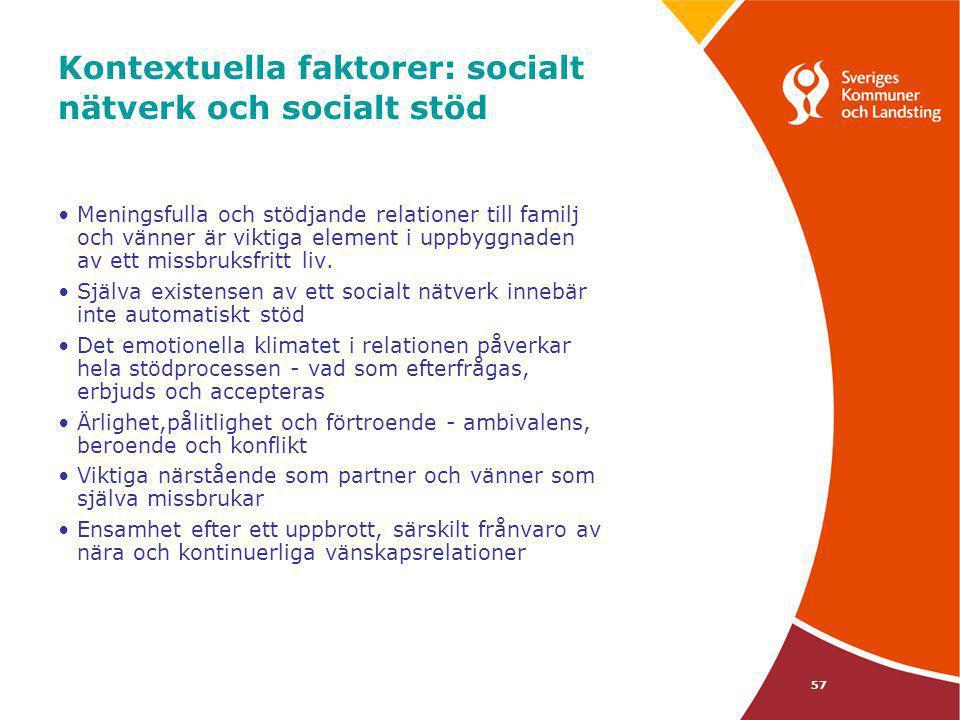 Kontextuella faktorer: socialt nätverk och socialt stöd