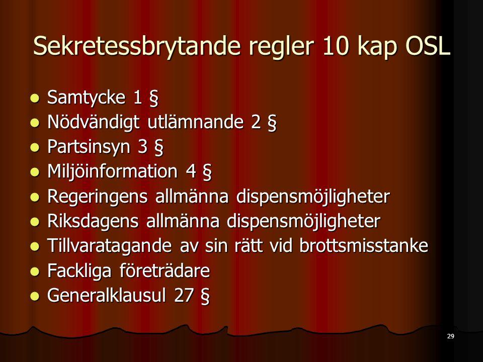 Sekretessbrytande regler 10 kap OSL