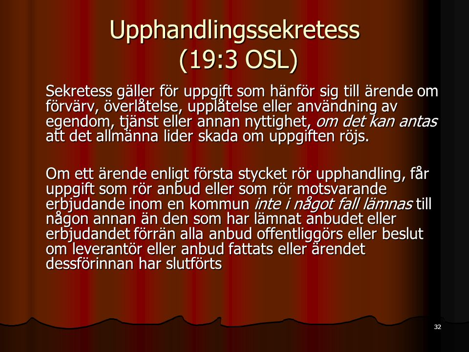Upphandlingssekretess (19:3 OSL)