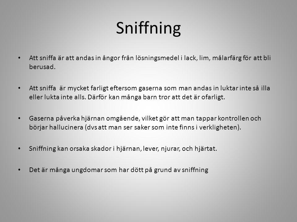 Sniffning Att sniffa är att andas in ångor från lösningsmedel i lack, lim, målarfärg för att bli berusad.