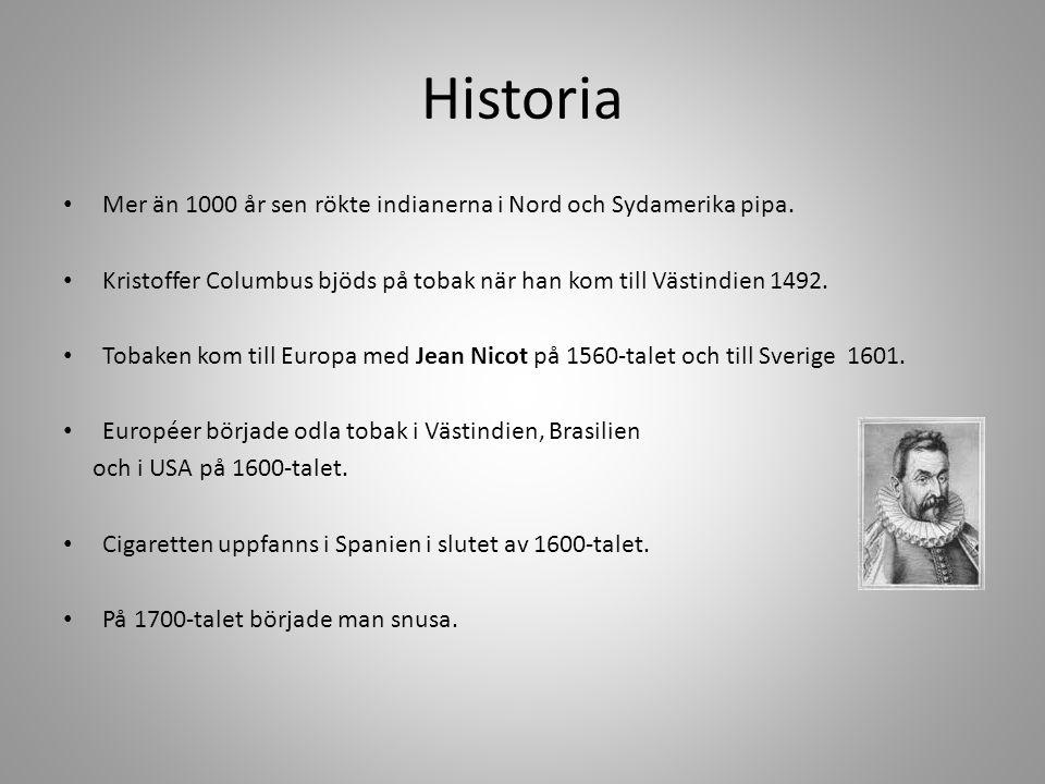 Historia Mer än 1000 år sen rökte indianerna i Nord och Sydamerika pipa. Kristoffer Columbus bjöds på tobak när han kom till Västindien 1492.