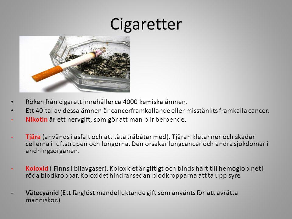 Cigaretter Röken från cigarett innehåller ca 4000 kemiska ämnen.