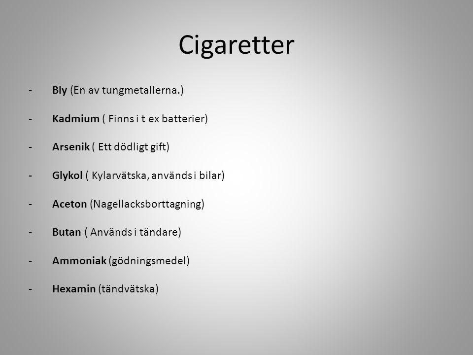 Cigaretter Bly (En av tungmetallerna.)
