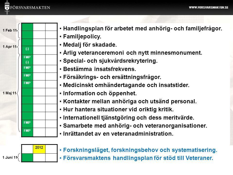 Handlingsplan för arbetet med anhörig- och familjefrågor.