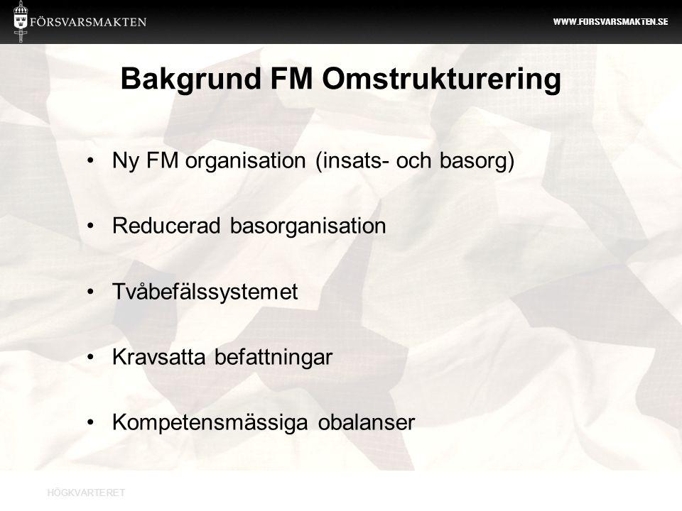Bakgrund FM Omstrukturering
