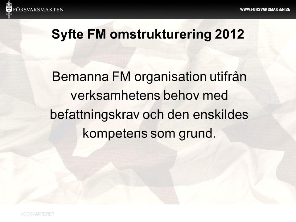 Syfte FM omstrukturering 2012