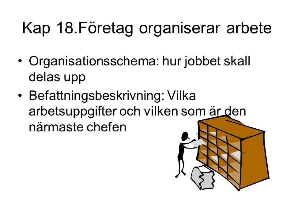 Kap 18.Företag organiserar arbete