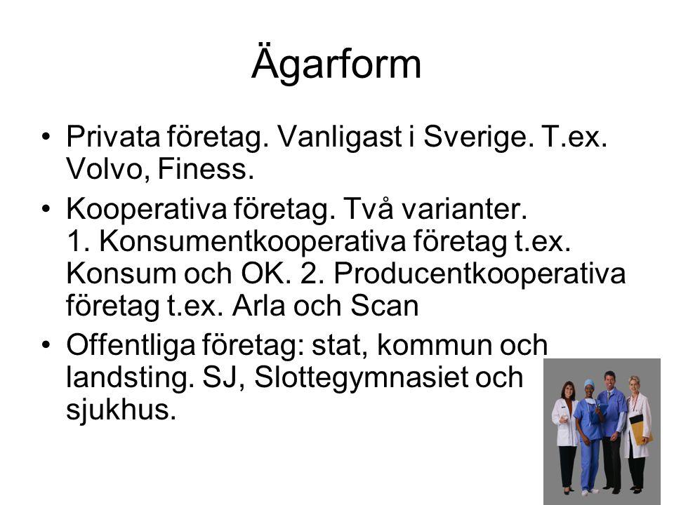 Ägarform Privata företag. Vanligast i Sverige. T.ex. Volvo, Finess.