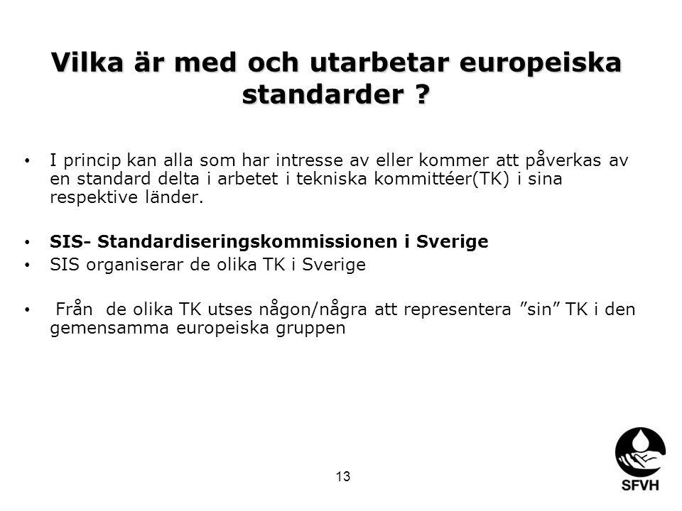 Vilka är med och utarbetar europeiska standarder