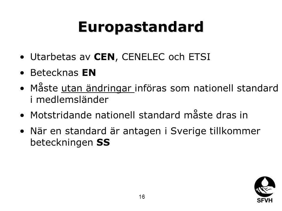 Europastandard Utarbetas av CEN, CENELEC och ETSI Betecknas EN