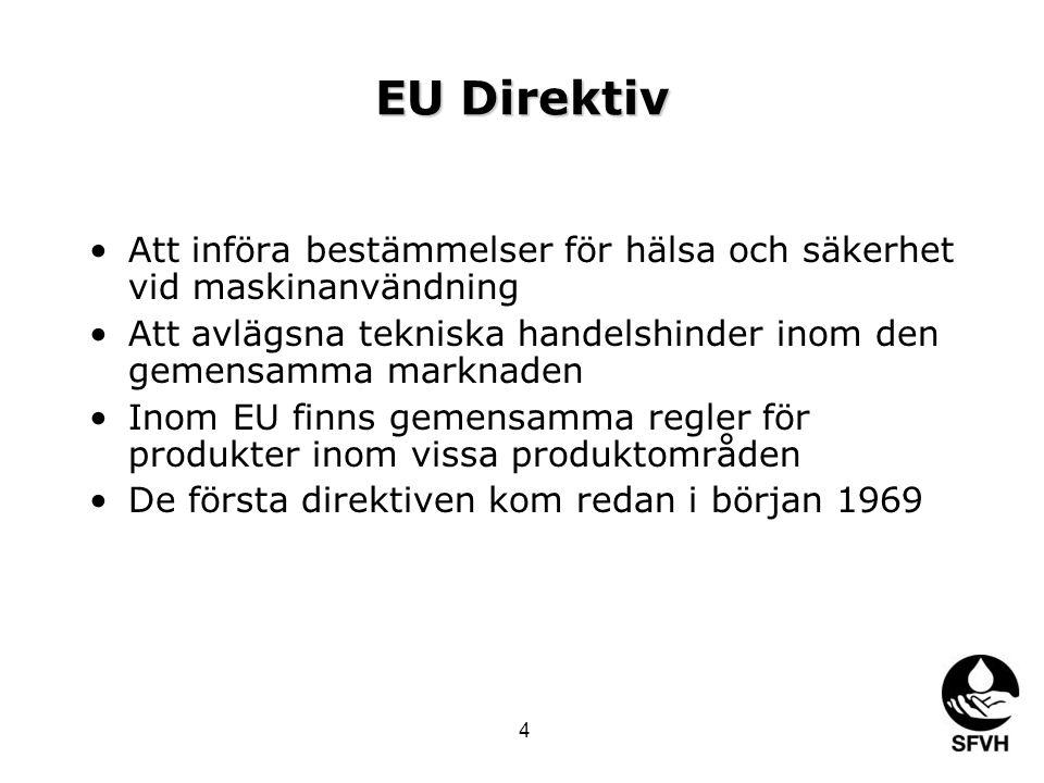 EU Direktiv Att införa bestämmelser för hälsa och säkerhet vid maskinanvändning Att avlägsna tekniska handelshinder inom den gemensamma marknaden