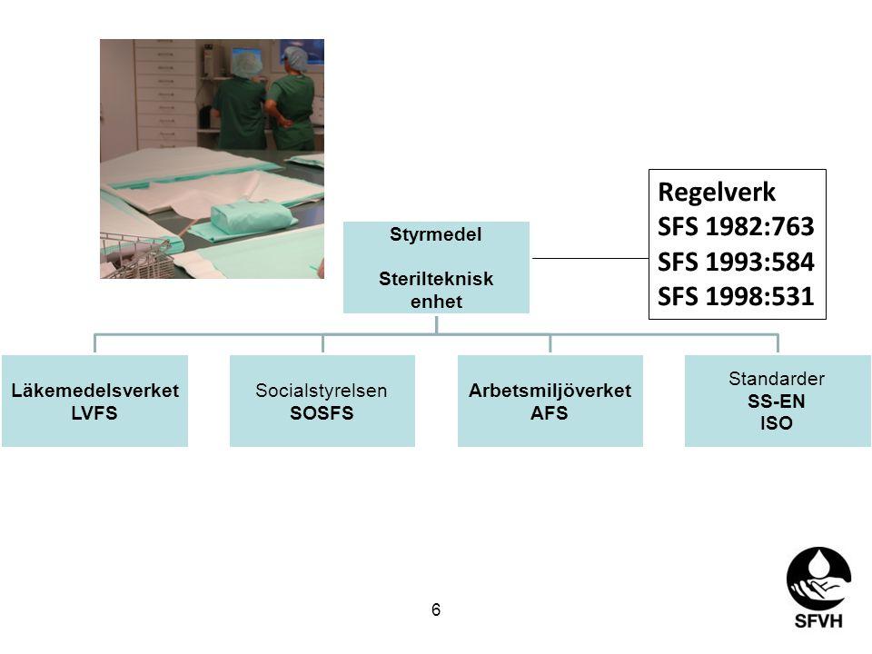 Regelverk SFS 1982:763 SFS 1993:584 SFS 1998:531 Styrmedel
