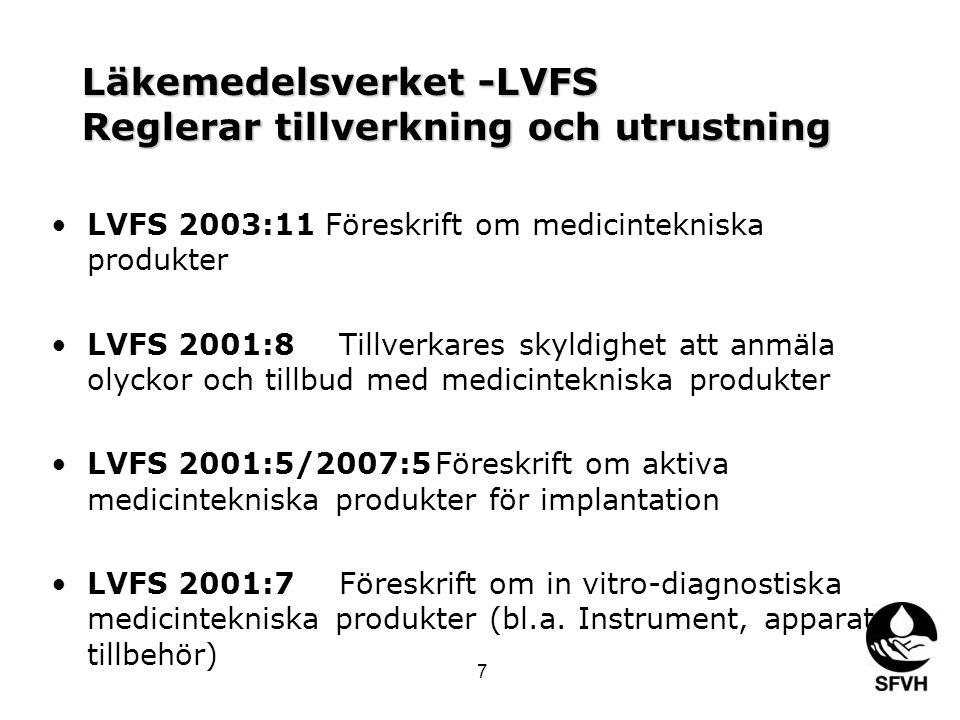 Läkemedelsverket -LVFS Reglerar tillverkning och utrustning