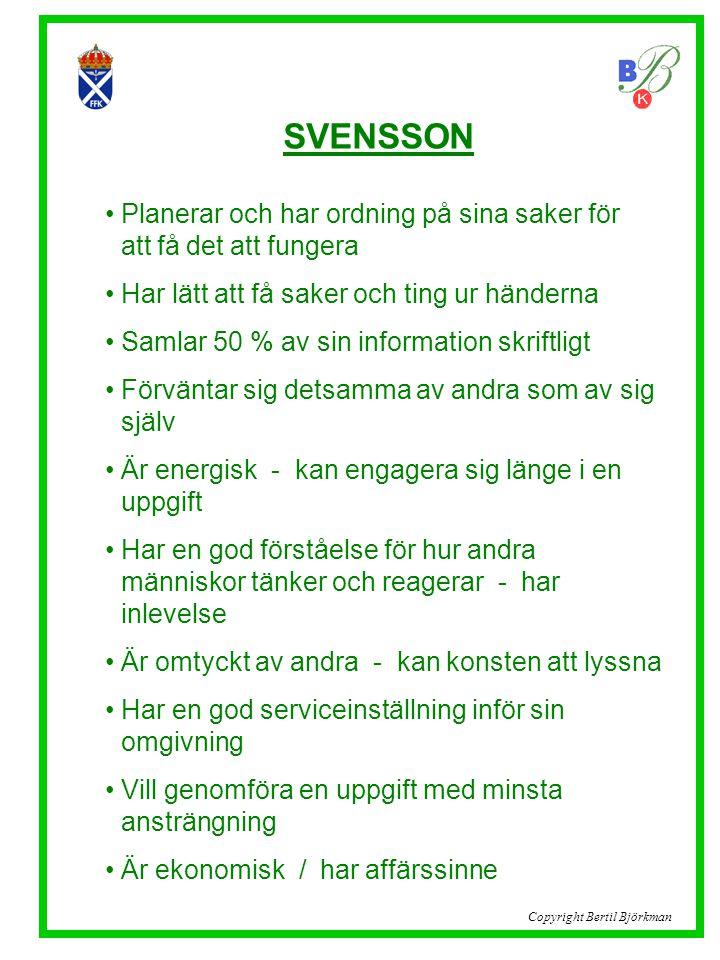 SVENSSON Planerar och har ordning på sina saker för ..att få det att fungera. Har lätt att få saker och ting ur händerna.