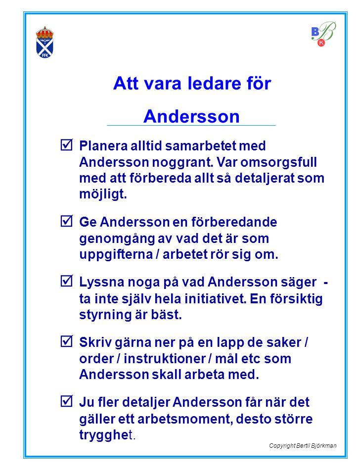 Att vara ledare för Andersson