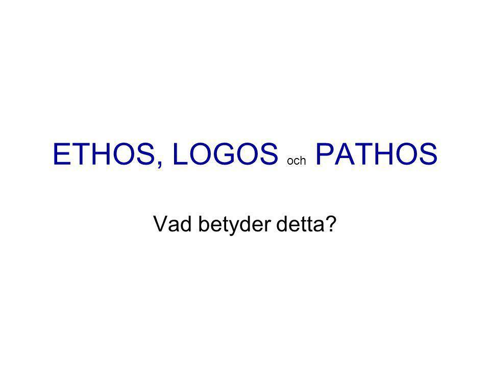 ETHOS, LOGOS och PATHOS Vad betyder detta