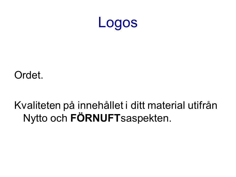 Logos Ordet. Kvaliteten på innehållet i ditt material utifrån Nytto och FÖRNUFTsaspekten.