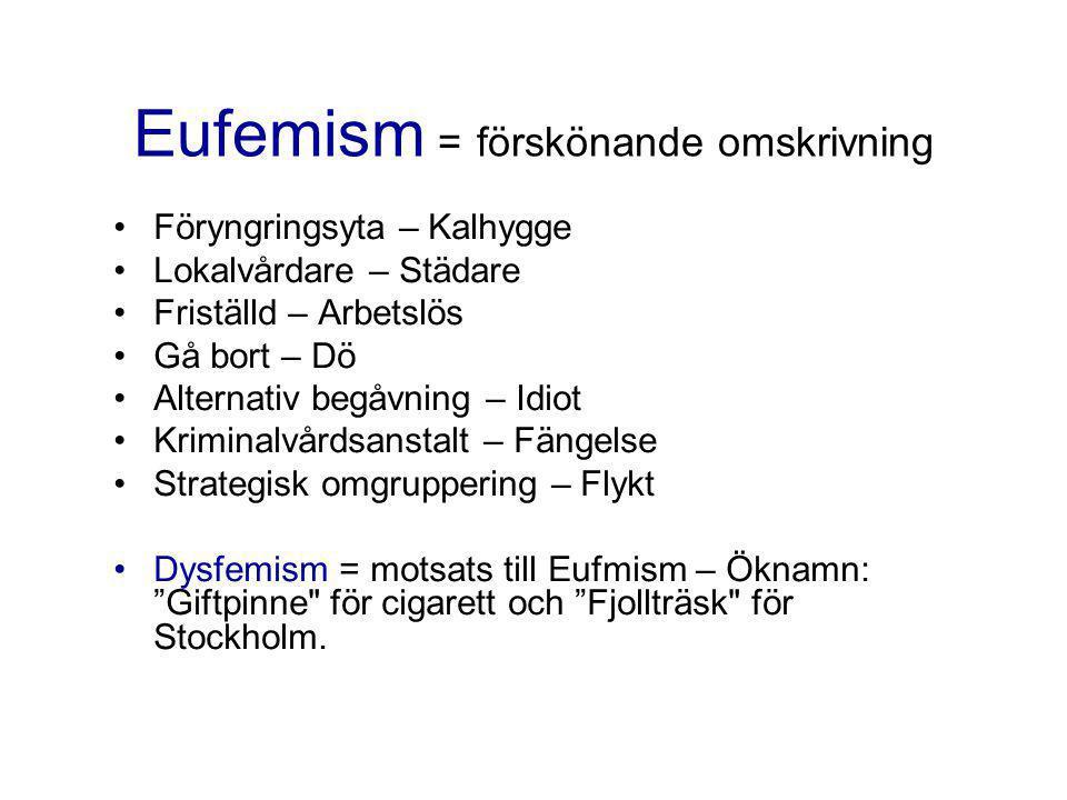 Eufemism = förskönande omskrivning