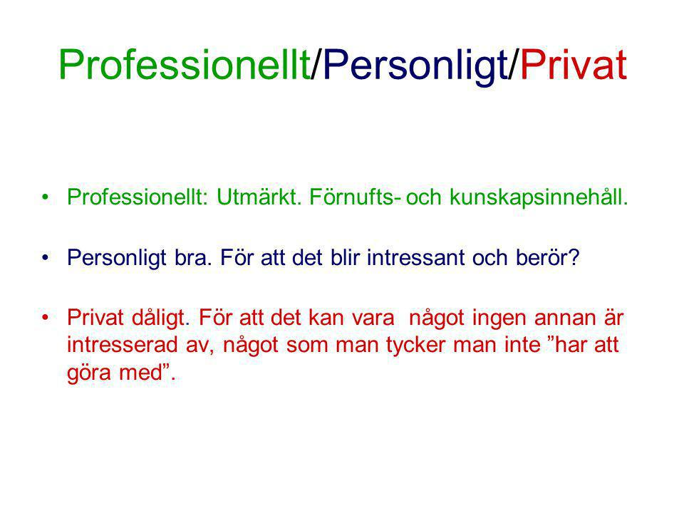 Professionellt/Personligt/Privat