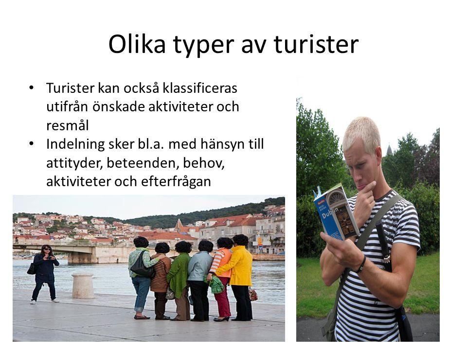 Olika typer av turister