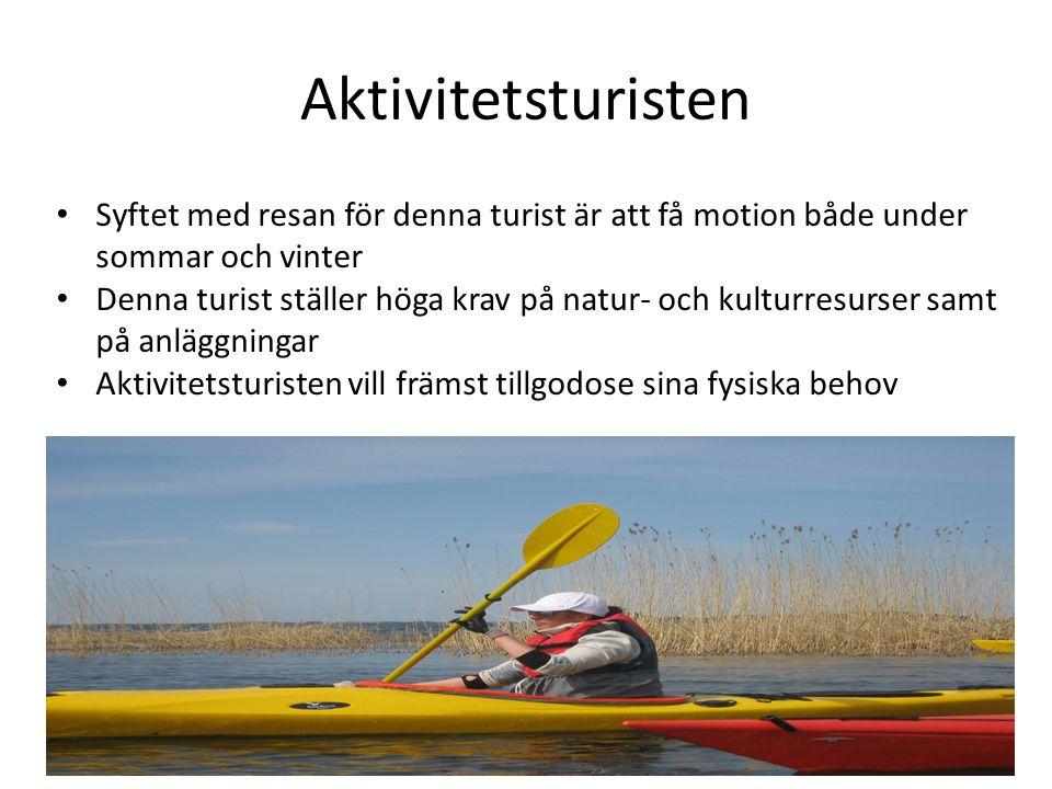 Aktivitetsturisten Syftet med resan för denna turist är att få motion både under sommar och vinter.