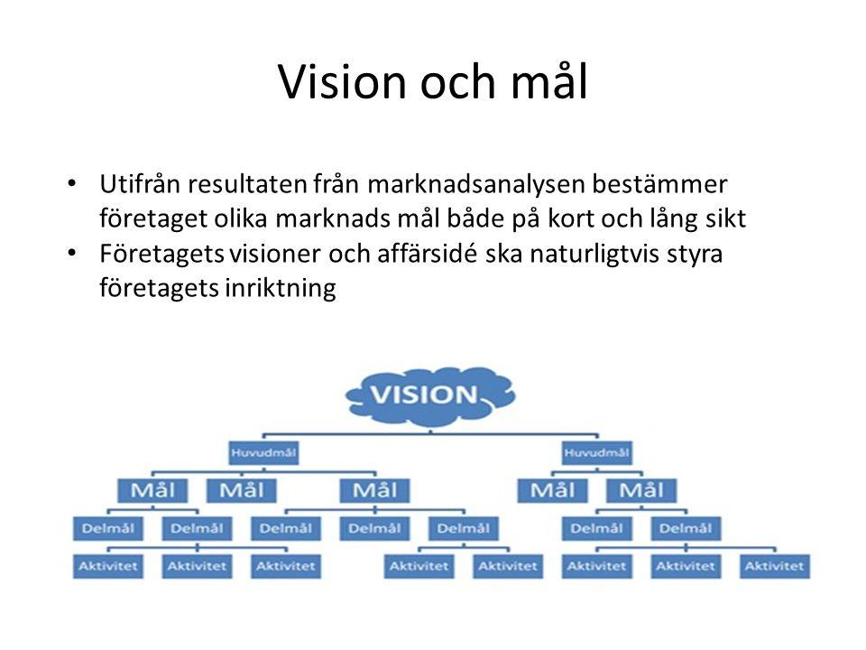 Vision och mål Utifrån resultaten från marknadsanalysen bestämmer företaget olika marknads mål både på kort och lång sikt.