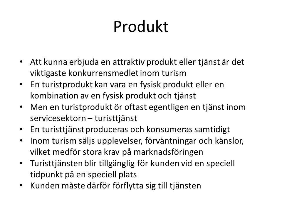 Produkt Att kunna erbjuda en attraktiv produkt eller tjänst är det viktigaste konkurrensmedlet inom turism.