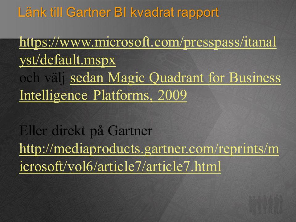 Länk till Gartner BI kvadrat rapport
