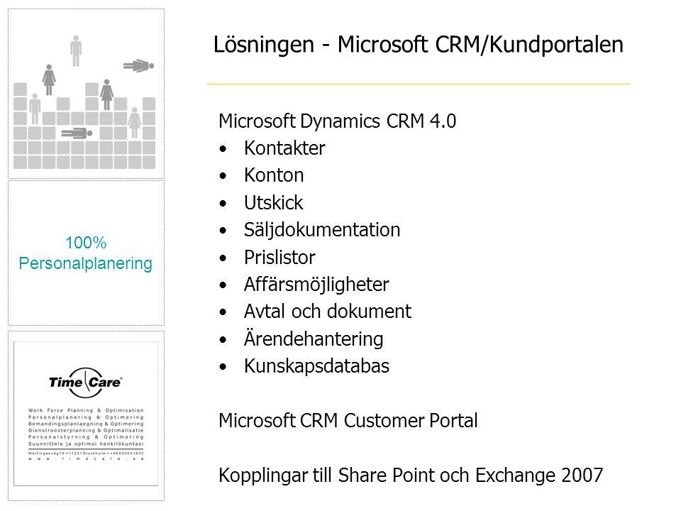 Lösningen - Microsoft CRM/Kundportalen