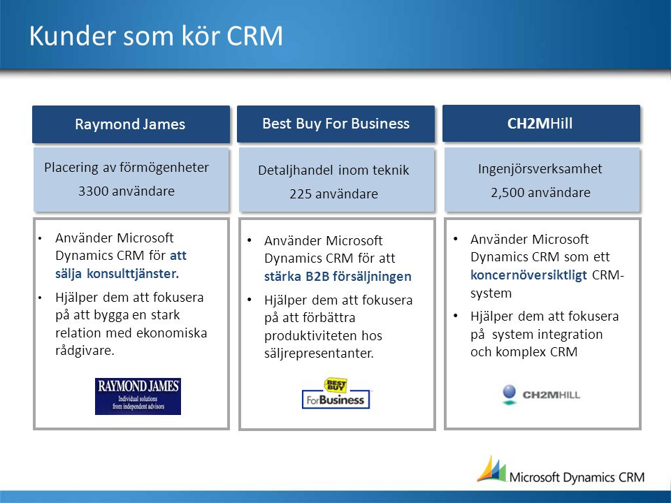Kunder som kör CRM Raymond James Best Buy For Business CH2MHill