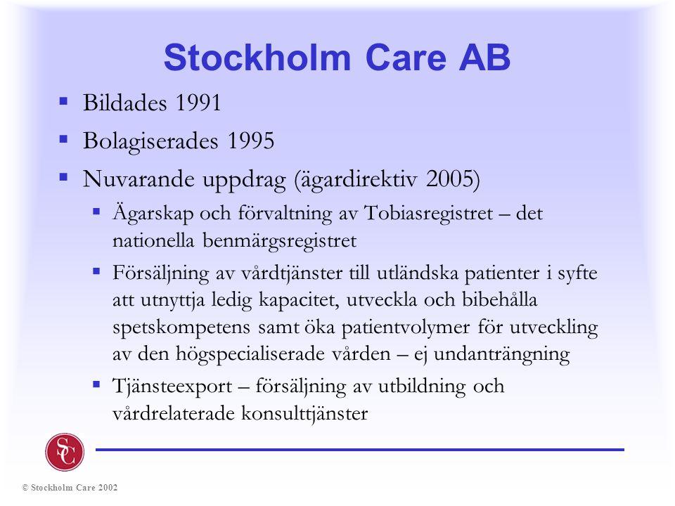 Stockholm Care AB Bildades 1991 Bolagiserades 1995