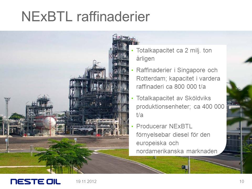 NExBTL raffinaderier Totalkapacitet ca 2 milj. ton årligen