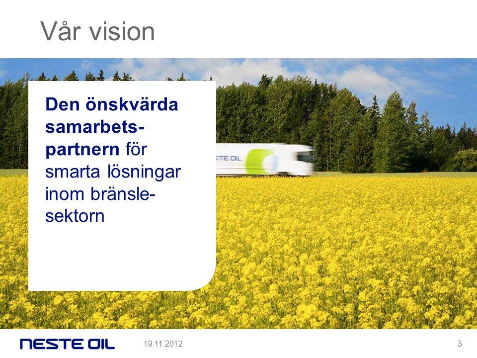 Vår vision Den önskvärda samarbets-partnern för smarta lösningar inom bränsle-sektorn 19.11.2012